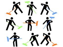 Numerous workers with colorful brooms sweeping illustration Stock Illustration