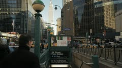 New York City 34t street penn station empire state building pan - stock footage