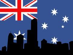 melbourne skyline against australian flag - stock illustration