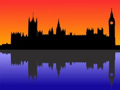 houses of parliament london - stock illustration