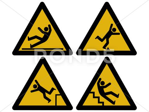 Stock Illustration of caution signs