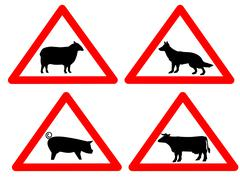 Warning livestock signs Stock Illustration