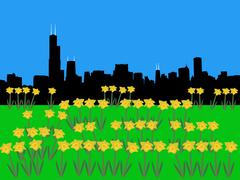 Chicago skyline Piirros
