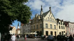 Estonia Tallinn quaint buildings c1 Stock Footage