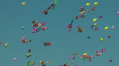 Numerous balloons drift in the air Stock Footage