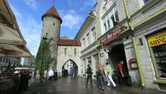 Estonia Tallinn city gate c Stock Footage