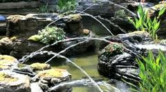 Crisscross water fountain Stock Footage