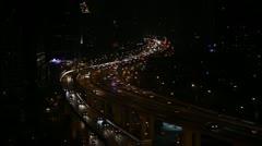 Office Building Freeway Public Transport Multiple Lane Shanghai Skyline Night Stock Footage