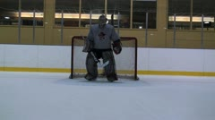 Goalie Puck Movement Stock Footage