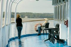 onboard of river cruise ship - stock photo