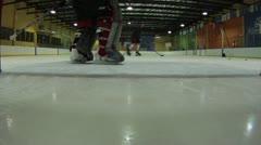 Ice Hockey Goalie movement closeup Stock Footage