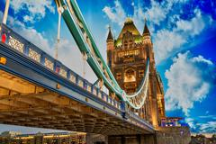 beautiful lights of tower bridge in london - stock photo