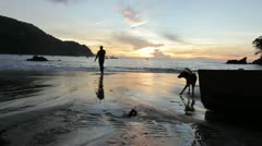 Man and dog walk on the beach in the sunset (HD) k - stock footage