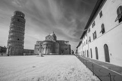 beautiful infrared view of leaning tower in pisa - italy - black and white pi - stock photo