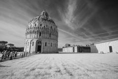 Pisa, miracles square. beautiful view of baptistery - infrared black and whit Stock Photos