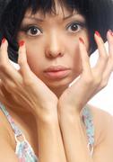 Look at my nails Stock Photos