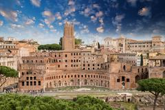 Ancient ruins of imperial forum in rome, via dei fori imperiali Stock Photos