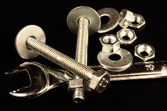 Wrench and hardware Stock Photos