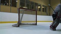 Ice Hockey Goalie Movement Recovery Stock Footage