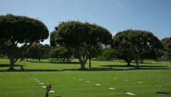 Stock Video Footage of Punchbowl National Cemetery, Hawaii, Driving Dolly