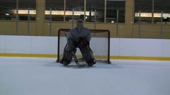 Ice Hockey Goalie Movement Stock Footage