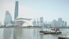 Vessel floats down Zhujiang River in Guangzhou city Stock Footage