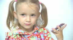 Little Girl Making her Lips with Lipstick, Girl Make up Herself Stock Footage