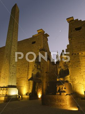 Stock photo of illuminated luxor temple at night