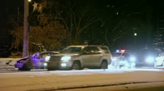 Police cars stand near damaged automobile after accident Stock Footage