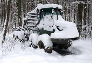 Stock Photo of snowbound timber vehicle