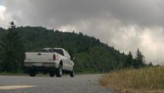 Truck Driving on the Blue Ridge Parkway on a Stormy Day - stock footage