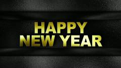 Happy new year text in wall GOLD Stock Footage