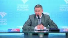 Stepan Lendiel speaks during interview. Stock Footage