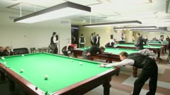 Contestants of championship billiard take part in competition Stock Footage