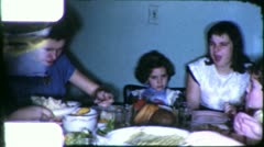 THANKSGIVING CHRISTMAS Dinner Family Meal 1960s (Vintage Film Home Movie) 6161 - stock footage