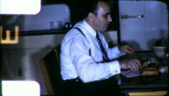 MAN EATS ALONE Diner Soliary Meal 1950s Vintage 8mm Film Home Movie 6661 Stock Footage