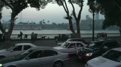 Stock Video Footage of drive plate, Cairo at dusk with traffic