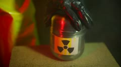 plutonium radiation canister toxic hazmant 2 - stock footage