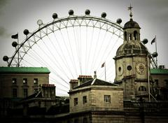 The London Eye and the Horse Guard Parade Stock Photos