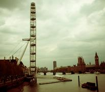 London Eye Thames kanssa Westminster Bridge parlamentin Big Ben Kuvituskuvat