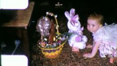EASTER EGGS Baskets Hunt Children 1960s (Vintage Retro Film Home Movie) 6169 Stock Footage
