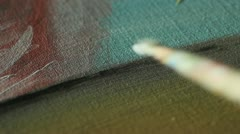 Painting with acryl close up Stock Footage