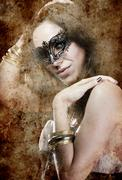 sensuality brunette with venetian mask, fantasy and romantic concept - stock photo