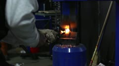 Stock Video Footage of Pneumatic Hammer Shaping Hot Steel