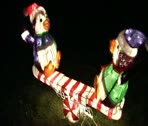 Outdoor holiday penguins decoration Stock Footage