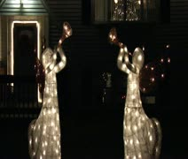 Front yard holiday decorations Stock Footage