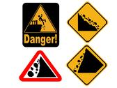 Stock Illustration of falling rock signs