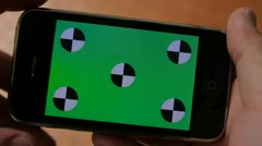 Cell Phone, touch scree, held by hands. Green screen Chroma Key. Close up. Stock Footage