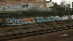 Train travel UK. Grafitti. Stock Footage
