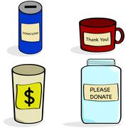 Donation jar and cups Stock Illustration